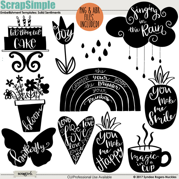 Solid Sentiments embellishment templates