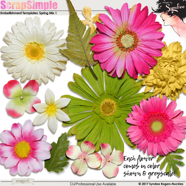Spring Mix Digital Floral Accents
