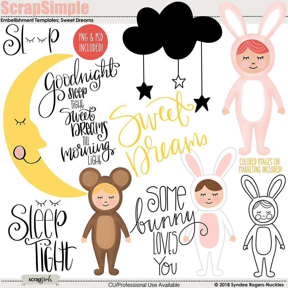 Sweet Dreams Embellishment Templates & Clip art