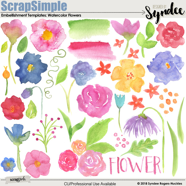 Watercolor Flowers Embellishment Templates Clip art
