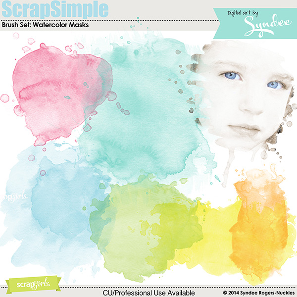 ScrapSimple Embellishment Templates: Watercolor Masks