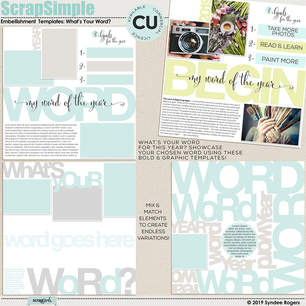 What's Your Word layout templates