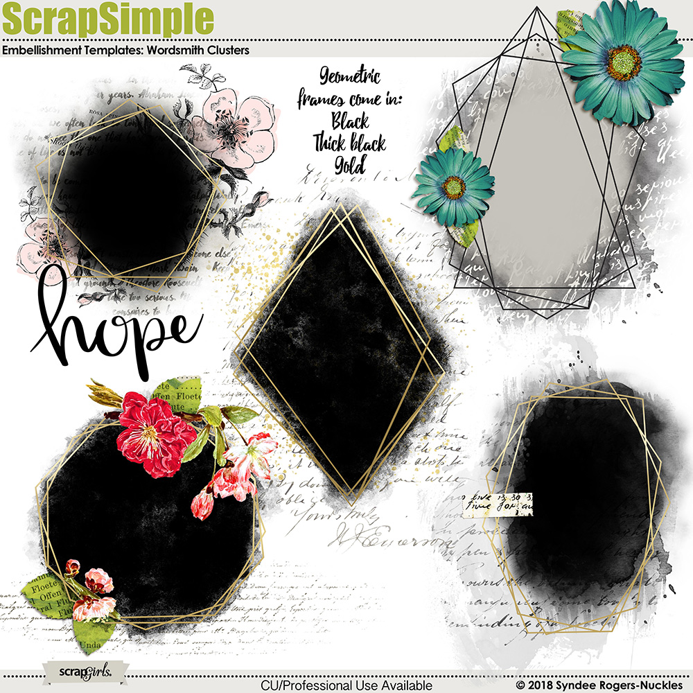 Wordsmith Embellishment Cluster templates