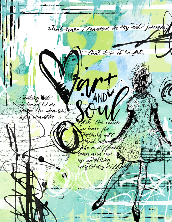 Art Journal Page using Art Journal Messy Digital Brushes