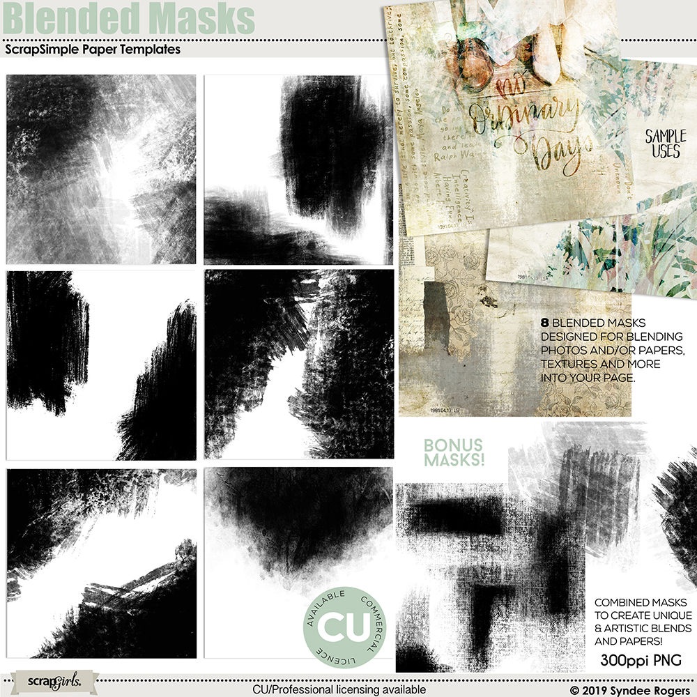 Blended Masks Paper Overlay Templates