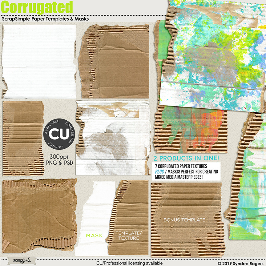 Corrugated paper templates and masks