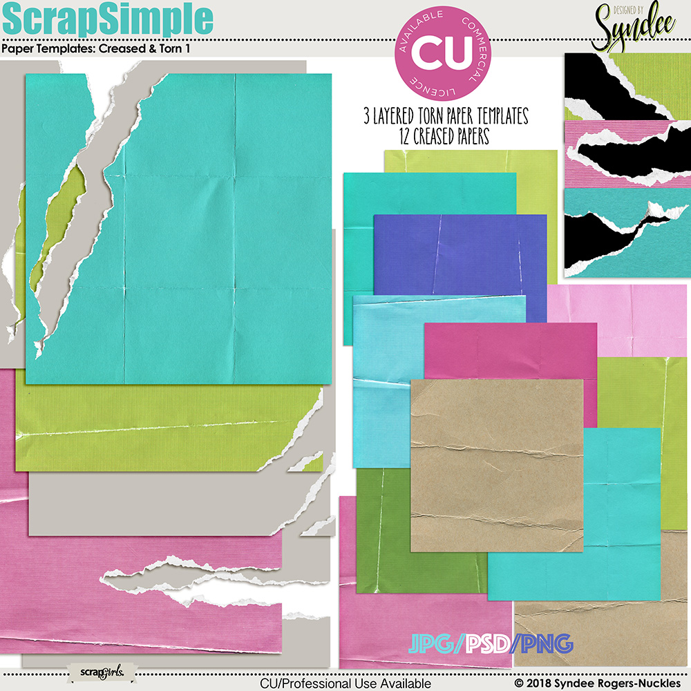 Creased and Torn Paper Templates and paper set vol. 2