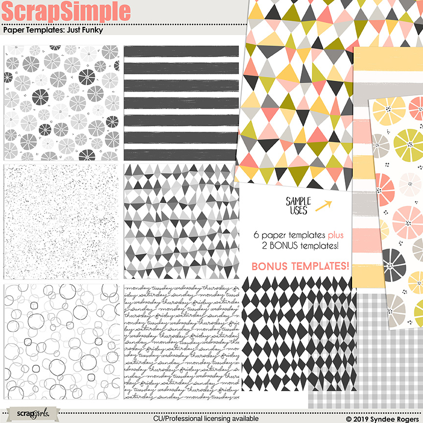 Just Funky Paper Template Overlays