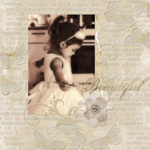 Layout by Syndee Nuckles using ScrapSimple Paper Templates: Mother, Faded Beauty Collection Mini, SSTools-Actions: Dreamy Photos, AYO: Jeweled Flora & SSTools-Styles: Aged Folds