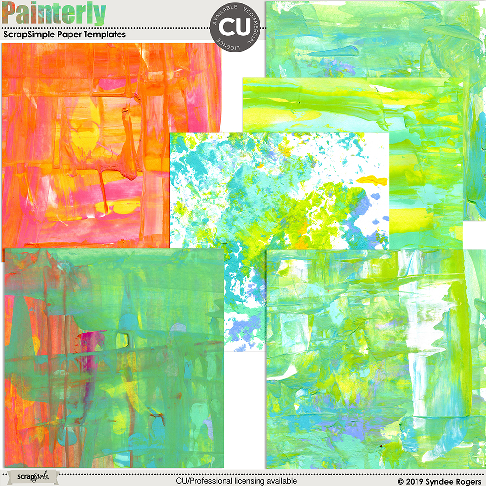 Painterly Digital Backgrounds and Paper Template Textures