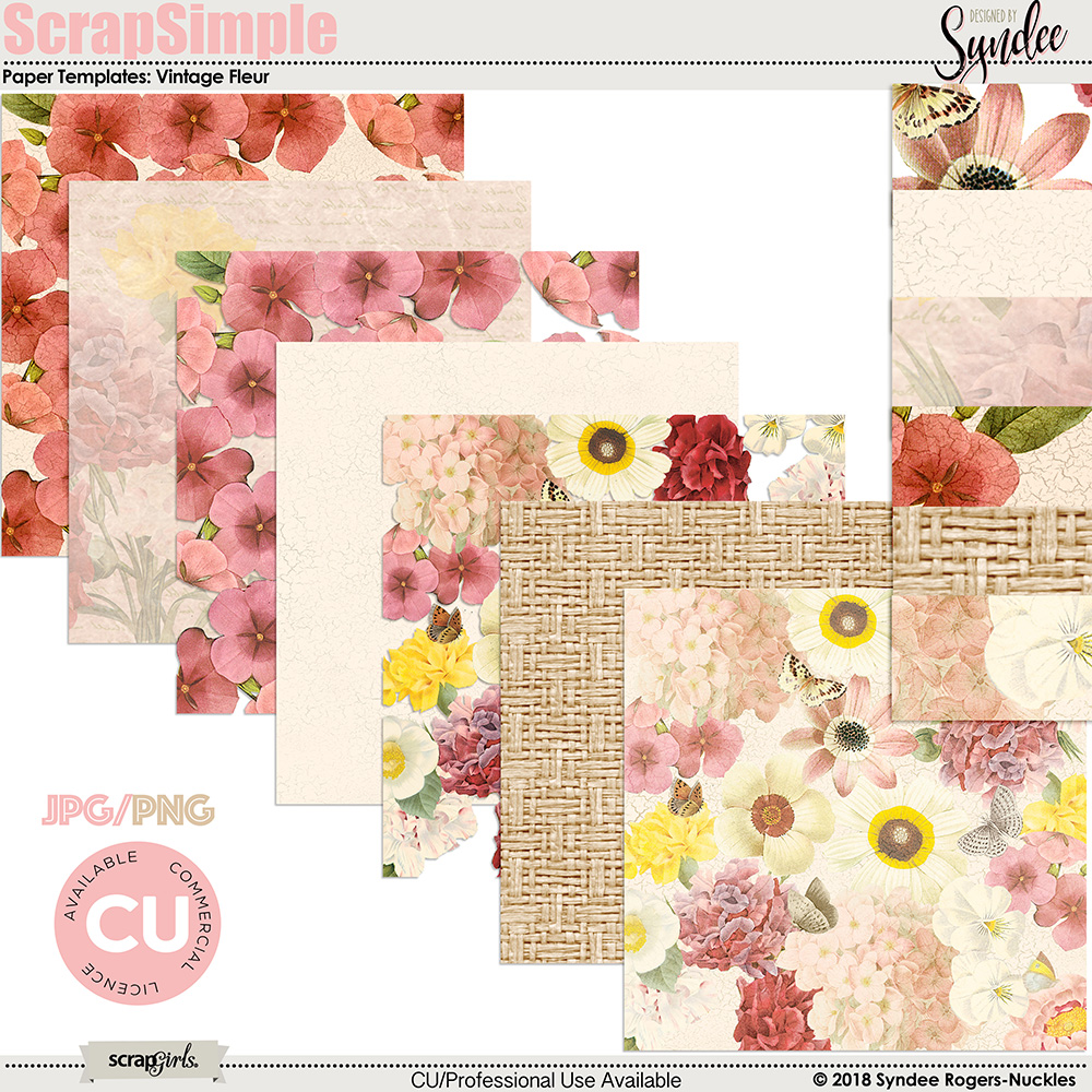 Vintage Fleur digital background templates