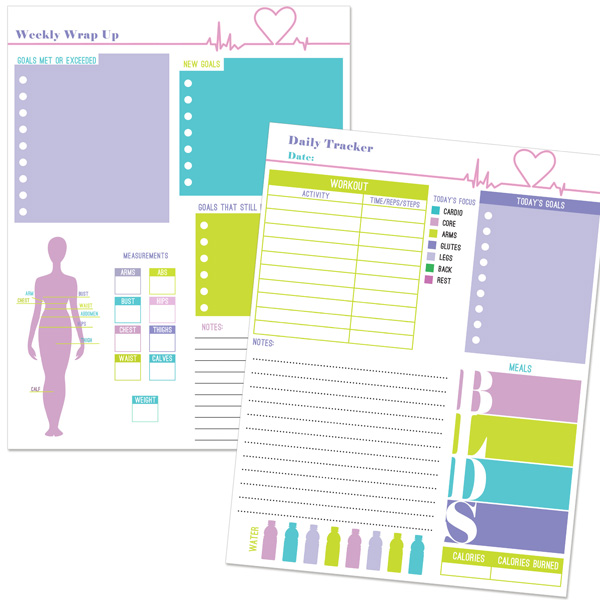 fitness planner template sample pages