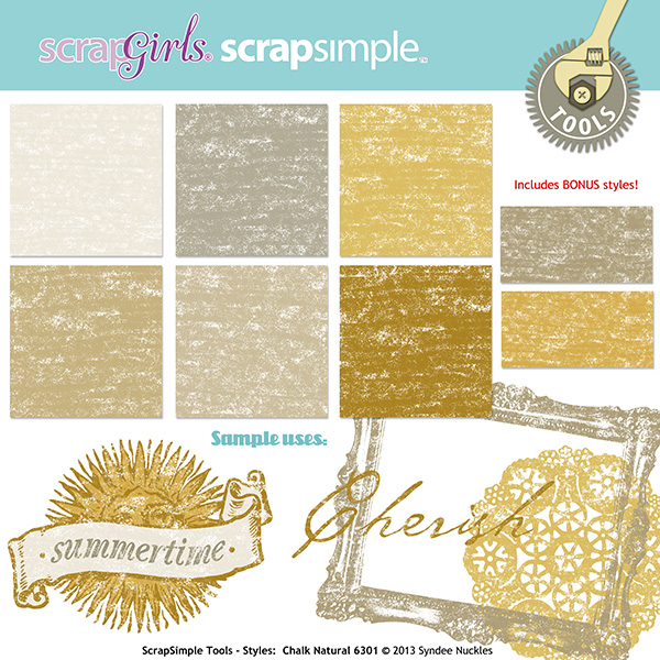 """Also available:<a href=""""http://store.scrapgirls.com/scrapsimple-tools-styles-chalk-natural-6301-p29024.php"""">ScrapSimple Tools - Styles: Chalk Natural 6301</a>"""