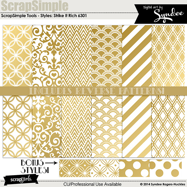 ScrapSimple Tools - Styles: Strike It Rich  Gold - Commercial License