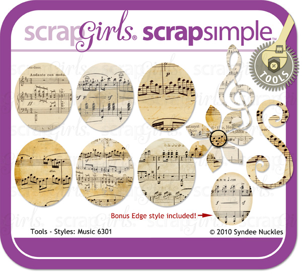 Also available: ScrapSimple Tools- Styles: Music 6301