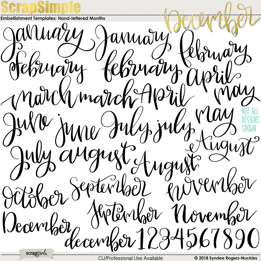 Hand-Lettered Months Planner Words Clip Art Templates