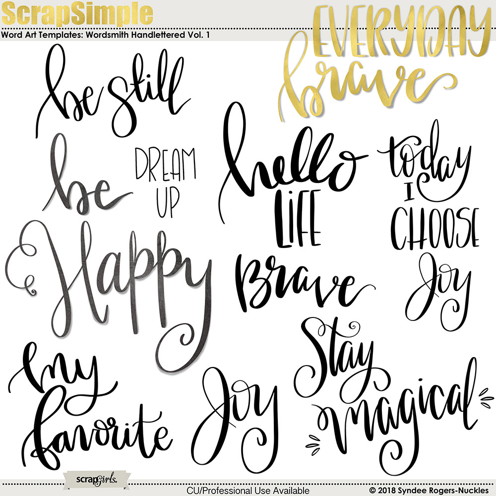 Wordsmith Hand-Lettered Word Art Templates