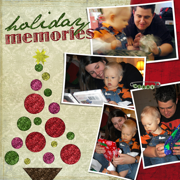 Layout by Laurel Lakey uses SS Digital Layout Templates: Holiday Happy; SS Tools-Styles: Micro Glitter; A Collage Unleashed Collection; A Collaged Holiday Collection; SS Paper Templates: Well Worn & Bridal Stroke Brushes
