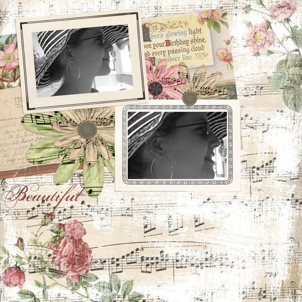 Layout by Syndee Nuckles using Vintage Photo Frames Embellishments and Collage Art Collection Biggie