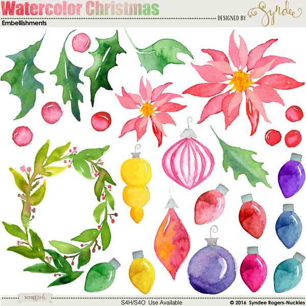 Watercolor Christmas Clip-Art