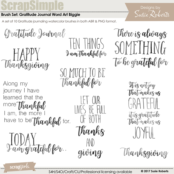 Brush Set: Gratitude Journal WA Biggie
