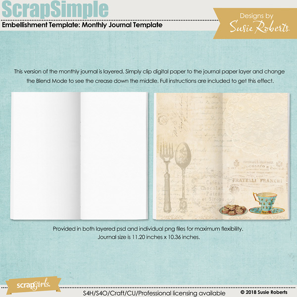 ScrapSimple Embellishment Template: Monthly Journal Template