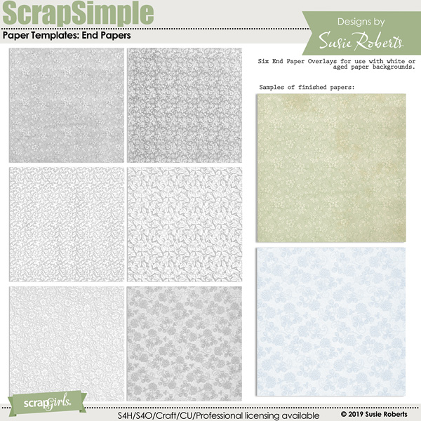 ScrapSimple Paper Templates: End Papers