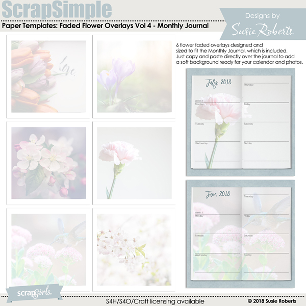 ScrapSimple Paper Templates: Faded Flower Overlays Vol 4