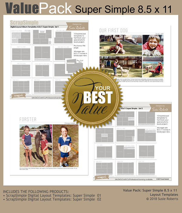 Value Pack Super Simple Digital Layout Templates 8.5 x 11