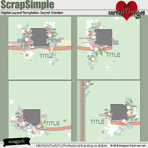 ScrapSimple Digital Layout Templates:Secret Garden