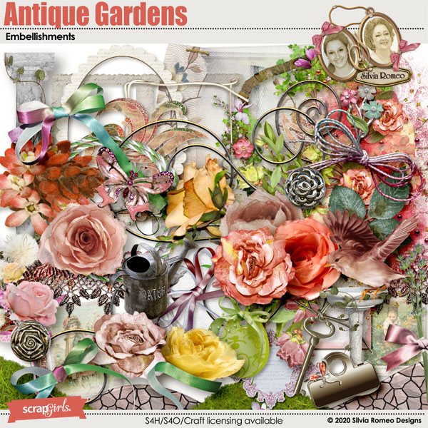 Antique Gardens Embellishments by Silvia Romeo