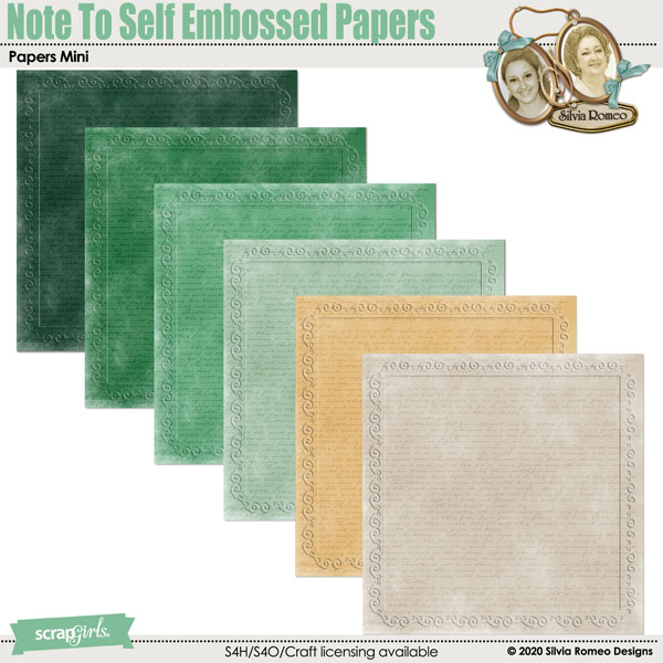 Note To Self Embossed Papers by Silvia Romeo