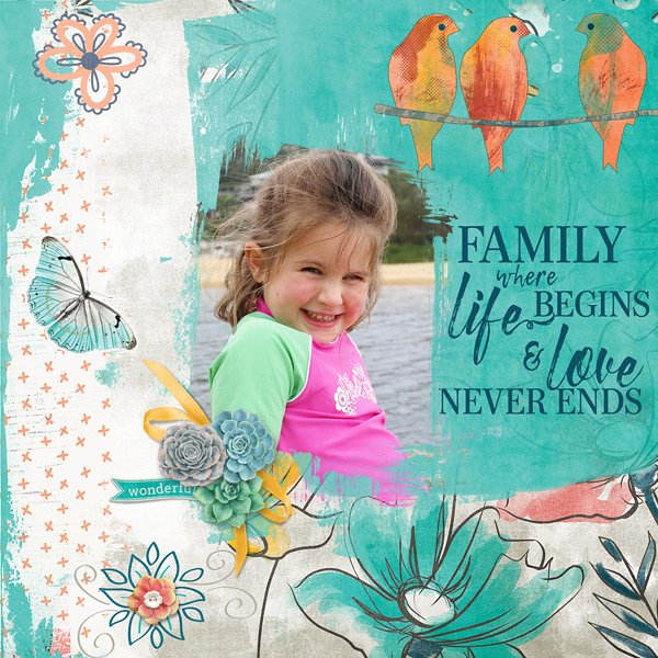Family digital scrapbooking layout featuring My Journal Collections
