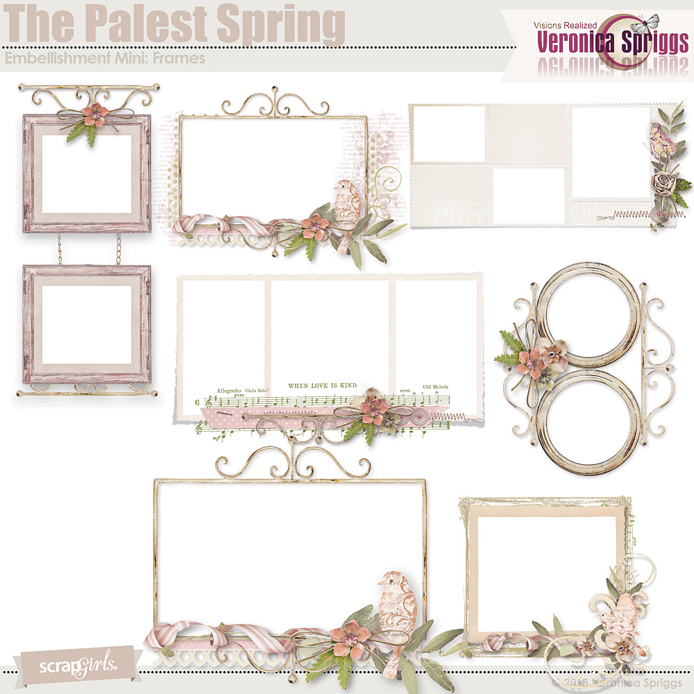 The Palest Spring Embellishment Mini Cluster Frames by Veronica Spriggs