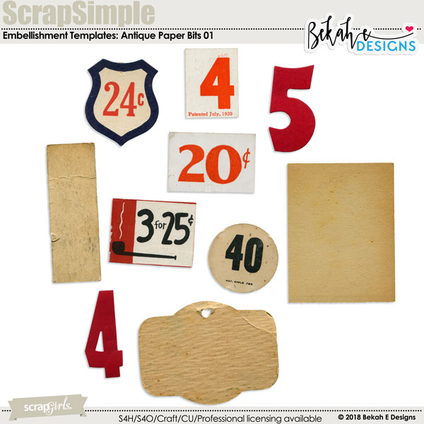 ScrapSimple Embellishment Templates: Antique Paper Bits 01