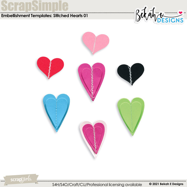 Stitched Hearts 01 by Bekah E Designs
