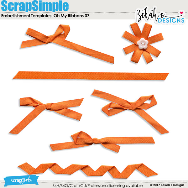 ScrapSimple Embellishment Templates: Oh My Ribbons 07
