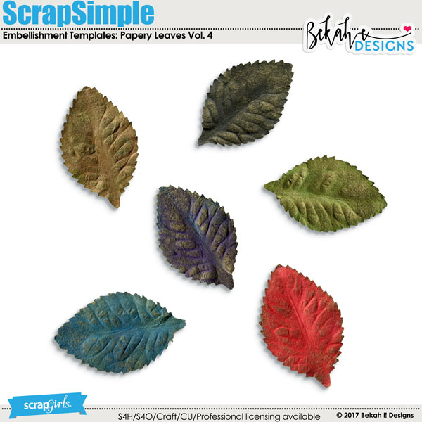 ScrapSimple Embellishment Templates: Papery Leaves Vol. 4