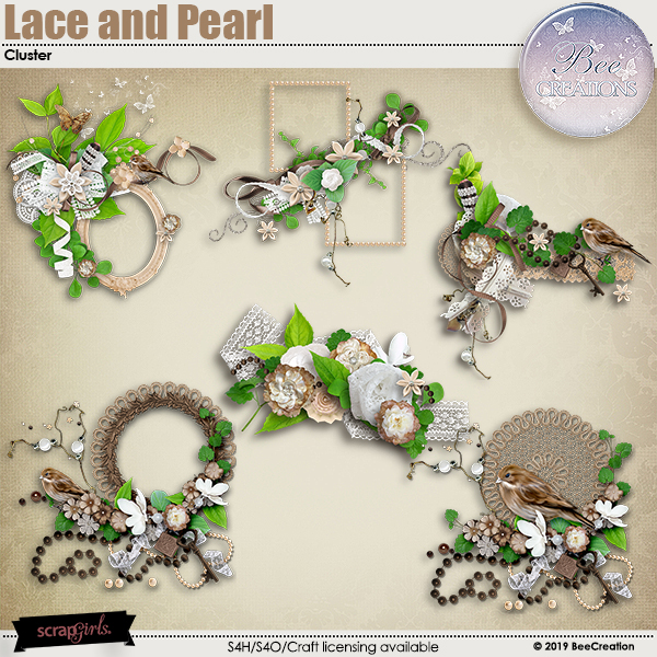 Lace and Pearl Cluster by BeeCreation