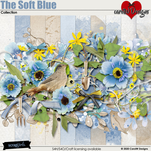 ScrapSimple Digital Layout Collection:The Soft Blue