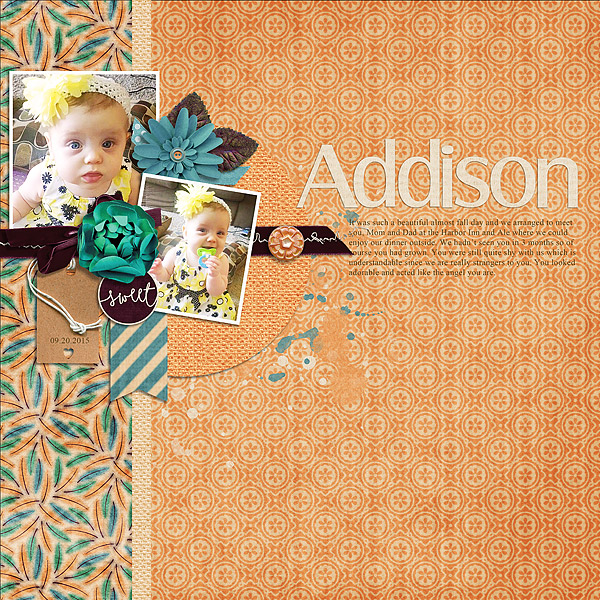 Layout by Bea using ScrapSimple Embellishment Templates: Papery Leaves Vol. 4