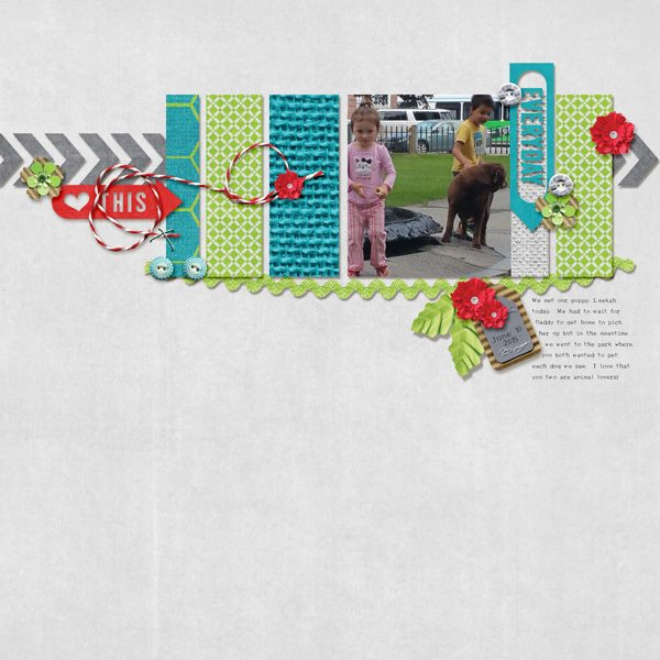 Layout by Kim using ScrapSimple Embellishment Templates: Tag Along 3