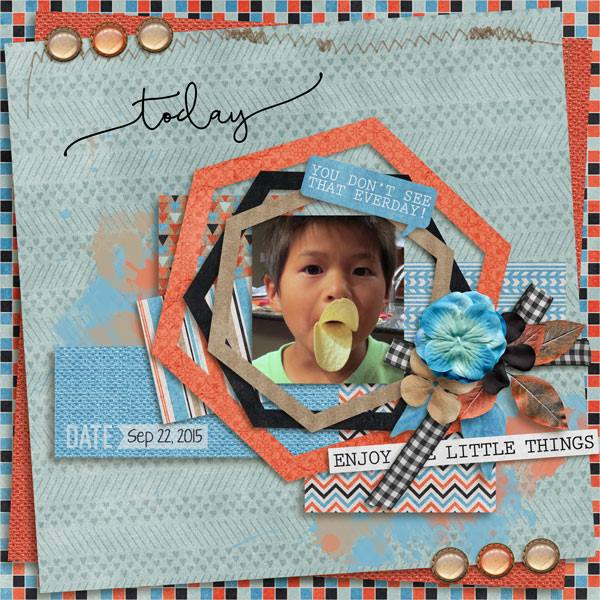 Layout by Penny using  Project Keepsake: October - Burlap Stack
