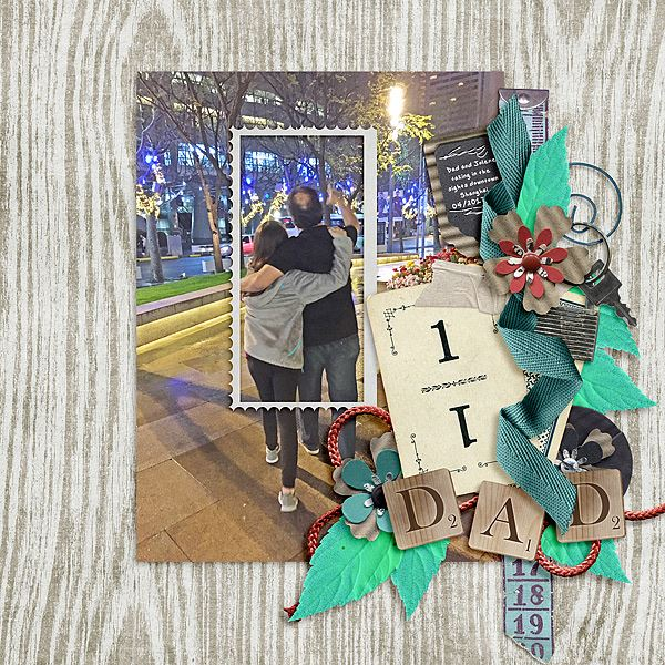 Layout by Joanna using ScrapSimple Embellishment Templates: Tag Along 3