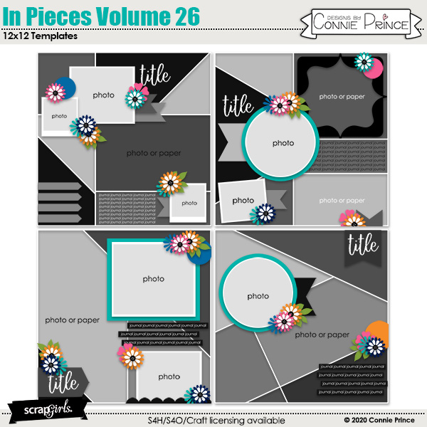 In Pieces Volume 26 12x12 Templates by Connie Prince