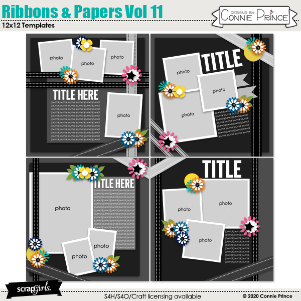 Ribbons & Papers 12x12 Templates Vol 11 by Connie Prince