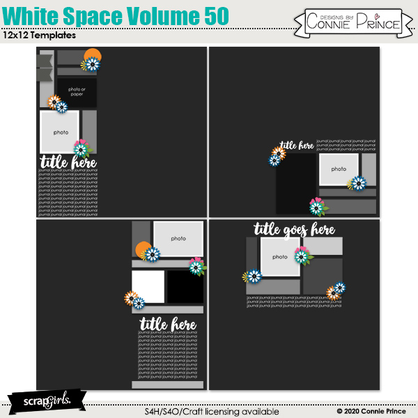 White Space Volume 50 12x12 Templates by Connie Prince