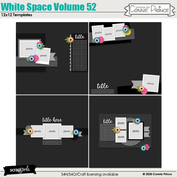 White Space 12x12 Templates Vol 52 by Connie Prince