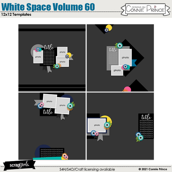 White Space Volume 60 12x12 Templates by Connie Prince