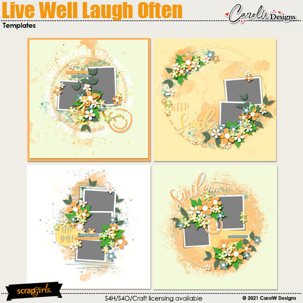 ScrapSimple Digital Layout Collection:Live Well Laugh Often